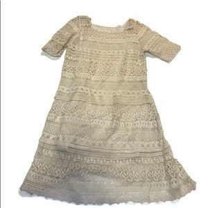 Solitaire Anthropologie ivory crochet dress Small